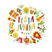 Festa Junina village festival in Latin America Icons set in bri