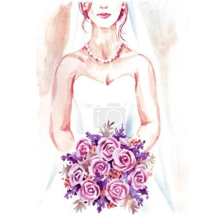 Photo pour Mariée avec bouquet, peinture à la main aquarelle illustration, fond de mariage pour carte, douche nuptiale, bannière, carte de vœux, invitation. - image libre de droit