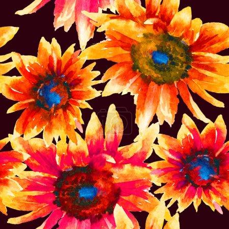 Photo pour Tournesols peinture à la main motif sans couture aquarelle. Modèle abstrait floral, modèle pour textile, papier peint, papier d'emballage. - image libre de droit