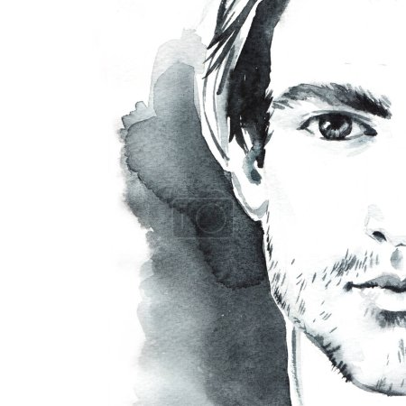 Young beautiful man, hand painted watercolor fashion illustration.