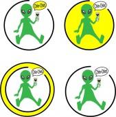 alien UFO joke sticker emblem cosmos