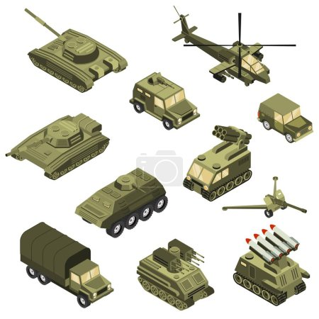 Illustration for Military armored transportation cargo personnel carrier fighting land vehicles and helicopter isometric icons collection isolated vector illustration - Royalty Free Image