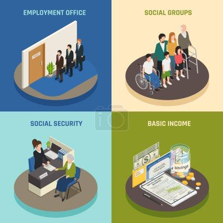 Illustration pour Conception isométrique de la sécurité sociale, bureau de l'emploi, soutien à divers groupes de population, revenu de base, illustration vectorielle isolée - image libre de droit