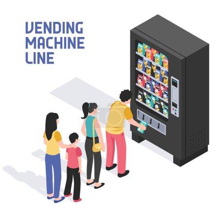 Illustration pour Les gens alignés devant le distributeur automatique vendant des collations boissons rafraîchissantes boissons d'été illustration vectorielle isométrique - image libre de droit