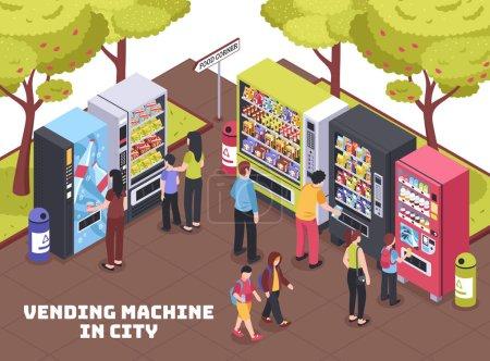 Illustration pour Distributeurs automatiques dans la zone commerçante de la ville vendant des boissons rafraîchissement snacks croustilles de café composition isométrique illustration vectorielle - image libre de droit