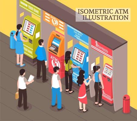 Illustration pour Distributeurs automatiques et distributeurs automatiques composition isométrique avec des personnes achetant des billets de transport et prenant illustration vectorielle de trésorerie - image libre de droit