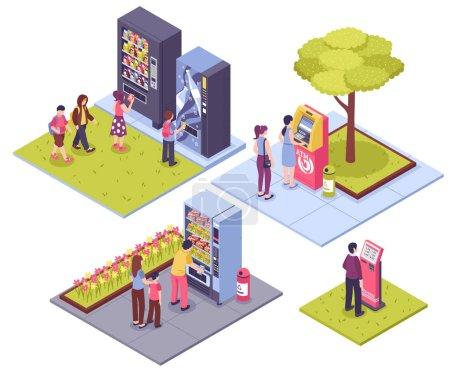 Illustration pour Distributeurs automatiques concept extérieur 4 images isométriques avec des personnes achetant des collations billets de boissons illustration vectorielle isolée - image libre de droit