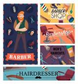 Barber Shop Cartoon Cards