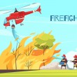 Firefighters outdoor composition with human charac...