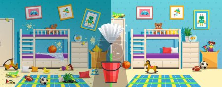 Illustration for Messy children room with furniture and interior objects before and after cleaning flat vector illustration - Royalty Free Image