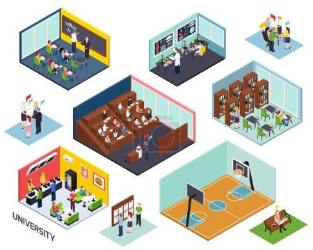 Illustration pour Concept d'étude universitaire 10 compositions isométriques avec salle de classe lecture bibliothèque projet sport extérieur isolé vecteur illustration - image libre de droit