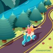 Downshifting Couple Isometric Background