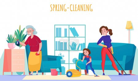 Illustration for Family household chores flat composition with grandma mother little daughter vacuuming spring cleaning living room vector illustration - Royalty Free Image