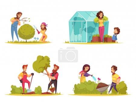 Illustration pour Jardinage légumes culture parage de buissons plantation d'arbres arrosage de fleurs dessin animé concept isolé vecteur illustration - image libre de droit