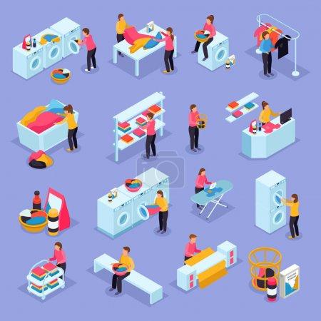 Illustration pour Pièce blanchisserie self-service salle clients équipement processus isométrique icônes ensemble avec machines à laver sèche-linge illustration vectorielle - image libre de droit