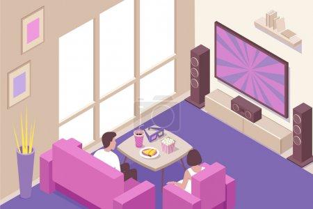 Illustration pour Jeune couple regardant la maison en streaming en ligne et des films de cinéma téléchargeables avec des collations pop-corn composition isométrique illustration vectorielle - image libre de droit