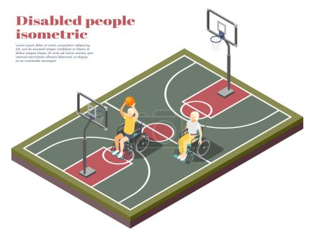 Illustration for Disabled people isometric composition with two invalids in wheelchair playing basketball on playground vector illustration - Royalty Free Image