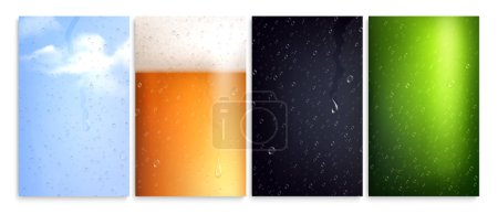 Photo pour Wiped misted glass set of isolated vertical surfaces with drops and colourful backgrounds with different reflections vector illustration - image libre de droit