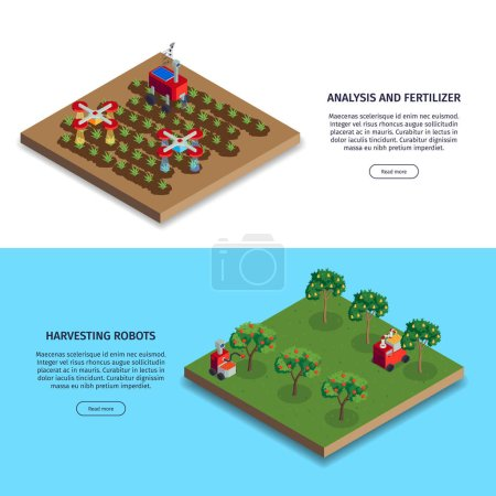 Photo pour Isometric smart farm banners set with buttons editable text and plantations with fertilizing and harvesting robots vector illustration - image libre de droit
