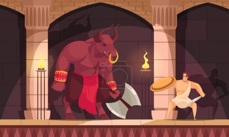 Minotaur fabulous mythical creature half man with ...