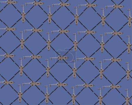 Photo pour Contexte abstrait. Plusieurs hélicoptères sur ciel bleu formant un motif de symétrie - image libre de droit