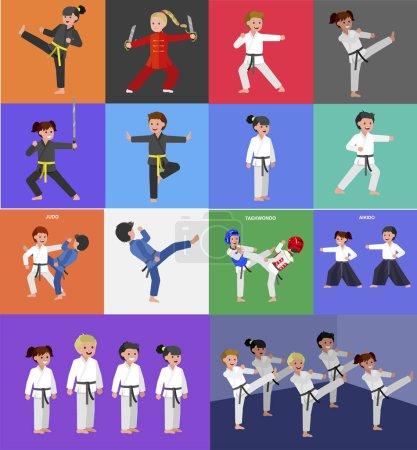 Cute vector character kid Shaolin monk. Illustrati...