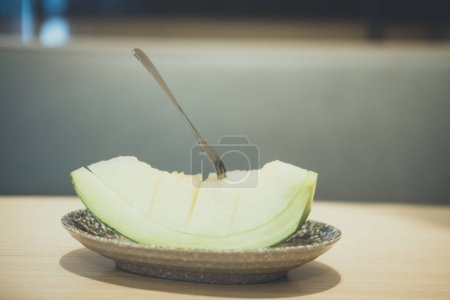 Photo for Fresh green melon slice fruit good nutrition and sweet fruit. Selective focus - Royalty Free Image