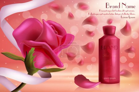Illustration for Red rose luxury cosmetics skincare vector illustration. Face or body skin care cream gel in glass bottle and beautiful red rose flower and petals, cosmetology product for every day beauty routine - Royalty Free Image