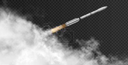 Rocket flying at the angle - diagonal - through thick smoke on the dark transparent background. Spaceship iinside realistic clouds. Vector 3d illustration.