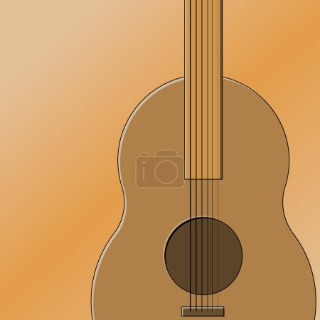 Vector illustration of a guitar deck with part of ...
