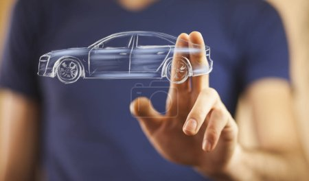 man's hand touching car icon