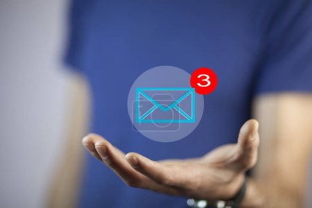 mail marketing concept. hand with   mail icon