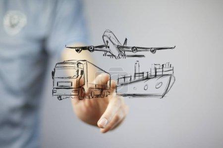 Foto de Hombre con diferentes medios de transporte. Transportes - Imagen libre de derechos