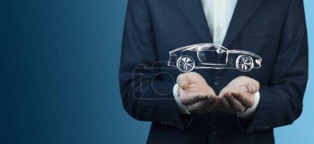 Photo pour Homme main voiture à l'écran en arrière-plan bokeh - image libre de droit