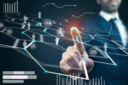 Businessman touching virtual social media icons