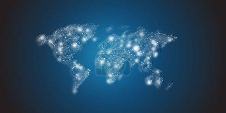 Global network map design illustration on dark background