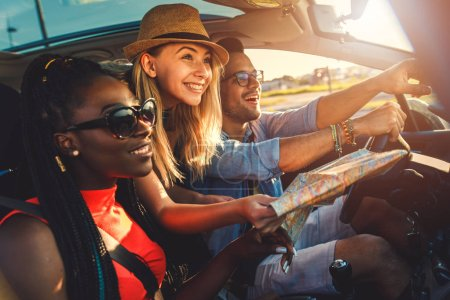 Friends travelling together by car