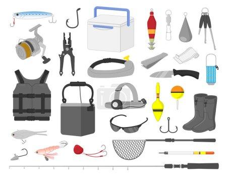 Illustration pour Matériel de pêche illustration set - image libre de droit