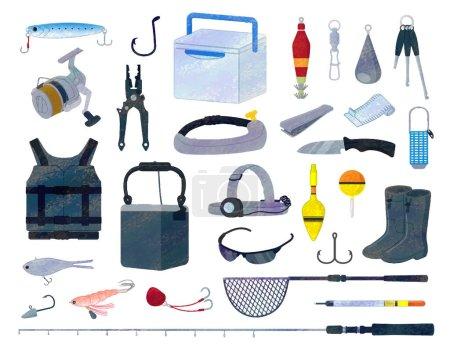 Illustration pour Set de matériel d'illustration pour outils de pêche / style analogique - image libre de droit
