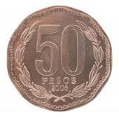 """Постер, картина, фотообои """"50 Чилийское песо монет изолированные на белом фоне"""""""