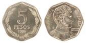 """Постер, картина, фотообои """"Чилийский песо монет изолированные на белом фоне"""""""