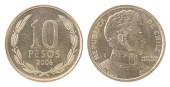 """Постер, картина, фотообои """"Десять Чилийское песо монет, изолированные на белом фоне - набор"""""""