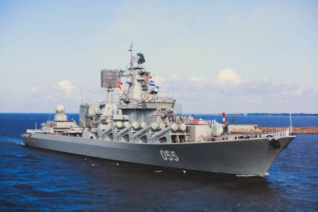 A line of modern russian military naval battleship...