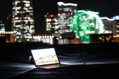 Yokohama night view and a laptop (Nomad worker of the image)