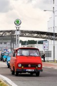 VRCHLABI, CZECH REPUBLIC - AUGUST 25 2018: Vintage cars Skoda 1203 oldsmobile veterans leaving Vrchlabi Skoda plant on August 25, 2018 in Vrchlabi, Czech Republic.