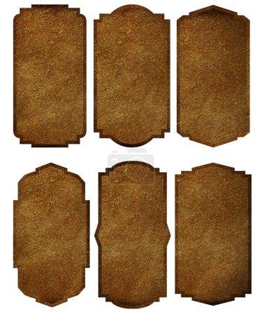 Set von Lederetiketten vintage frame border design, isoliert auf weißem Hintergrund