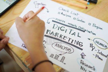 Photo pour Concept de plan de marketing numérique dessiné à la main pour les présentations et les rapports - image libre de droit