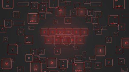 Illustration pour Illustration des boutons virtuels du clavier néon . - image libre de droit