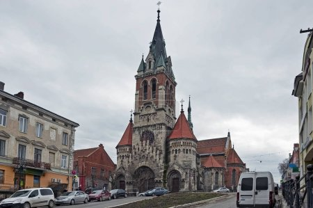 The view to Church of Our Lady of the Holy Rosary and St. Stanislaus town, Ukraine