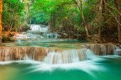 beautiful waterfall in the forest, Kanchanaburi province, Thailand